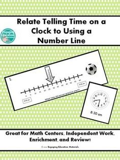 Students related telling time on a clock to using a number line. Students match the number line task cards to the correct clock card. There are a total of 8 matching sets of cards. Students record their answers on the student recording sheet by writing the correct time and drawing the hands on the clock. This activity can be used as a math center, independent work, enrichment, or review!
