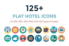 125+ Flat Hotel Icons by Creative Stall on Creative Market