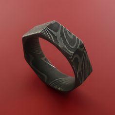 Damascus Steel Ring Heptagon Shape Acid Waive Pattern Wedding Band