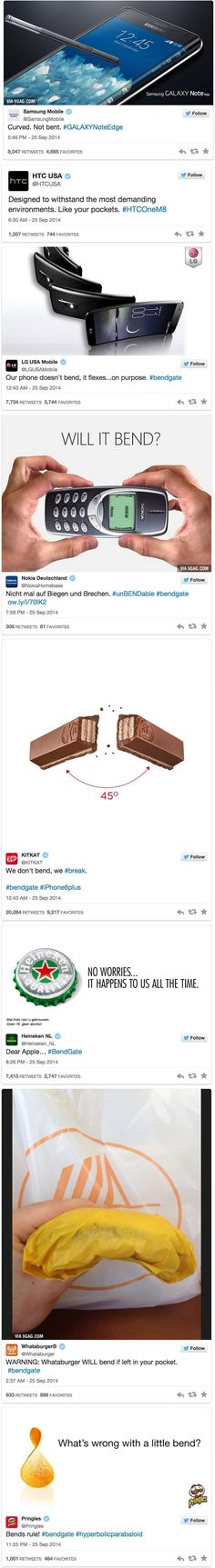 How major brands are reacting to Apple's iPhone 6 bend - Imgur