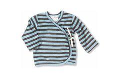 Organic Baby Clothes - Striped Kimono Aqua/Chocolate