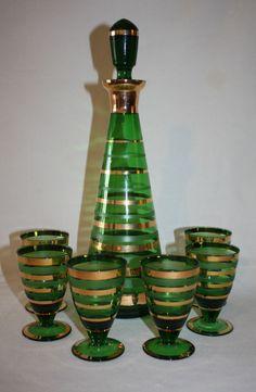 Vintage Big Borske Sklo Blown Czech Glass Decanter 6 Goblets 1950s Green Gold #ArtDeco #BorskeSkloGlassworks
