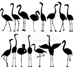 Flamingo Silhouettes royalty-free flamingo silhouettes stock vector art & more images of animal Flamingo Craft, Flamingo Painting, Flamingo Pattern, Diy Painting, Silhouette Painting, Silhouette Clip Art, Animal Silhouette, Ballerina Silhouette, Flamingo Tattoo