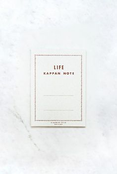 Life Japanese Paper Notebook - A5 (15x21cm) - Kappan - RULED