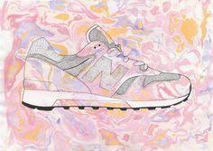 New Balance pink. Tym razem jeden samotny sneakers. Japońska technika malowania tuszem na wodzie- Suminagashi, w rozbuchanej, barokowej, europejskiej wersji. Pantofel rysowany piórkiem czarnym tuszem. Format A3.