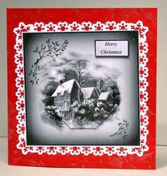 mono Christmas on Craftsuprint designed by Gail Collins - made by Kristina Norbat - Printed on good quality photo paper cutout and layered onto a snowflake punched out mat then onto a red card to complete this gorgeaus design. - Now available for download!