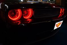 Devil red halo headlights on a Dodge Challenger. & Red LED door lighting | LED vehicle lighting examples | Pinterest ...