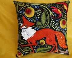 Red Fox in the Forest Beaded Pillow by thebeadedpillow on Etsy