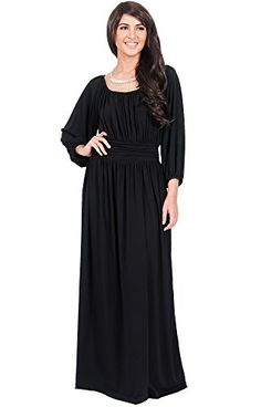 a66c1946e6e48 KOH KOH Womens Long Sleeve Vintage Peasant Empire Waist Pleated Fall Maxi  Dress Color Black Size Large L 1214     Click image for more details.