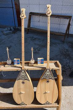 the dombra, a traditional Kazakh string instrument, for sale at the market in Bayan-Ölgii in Western Mongolia