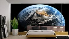 Astonishing Astronomy Theme for Interior Design : Minimalist Bedroom With Wall Mural Depicting A View Of Earth From Space