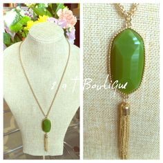 """Green tassel necklace Green tassel necklace with gold hardware. LENGTH: approximately 17"""" from clasp to bottom of tassel. 2 a T Boutique  Jewelry Necklaces"""