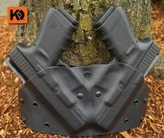 The K Rounds Double Pancake Holster - If you don't like to reload your pistol after the first mag then this holster is for you. Yes, you can carry 2 of your favorite pistols at the same time! We only use the highest grade of Kydex and components combined with a high level of skill to create these one of kind holsters. The grips face inward to help minimize pistol printing, making this one of the most concealable double holsters available.