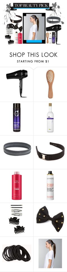 """""""Hair accesories"""" by memesalo ❤ liked on Polyvore featuring beauty, T3, The Unbranded Brand, Catwalk by TiGI, O'right, J.Crew, Salvatore Ferragamo, Wella, Sephora Collection and Dorothy Perkins"""
