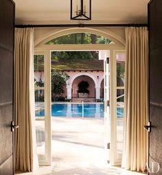 Renovated Hotel Bel-Air - Embossed Leather Doors to Private Pool