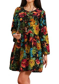 Hole Tide Womens FloralCheckered Cotton and Linen Long Sleeves Tunic Dress Floral Size US 14 >>> Visit the image link more details. (This is an affiliate link and I receive a commission for the sales)