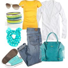 My first Polyvore set: everyday wear for errands and activities with two kiddies. (♥ the diaper bag)