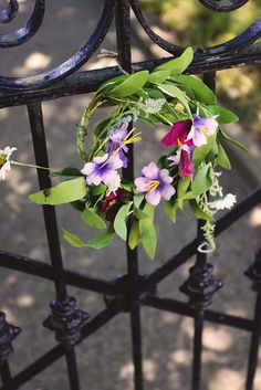 sweet simple spring wreath on the gate