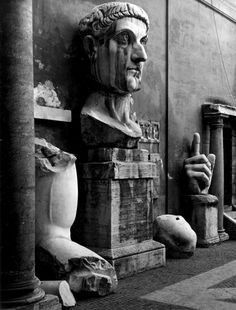 Fragments of the colossal statue of Constantine The Great, Palazzo dei Conservatori, Rome, 1954. Edwin Smith. Silver gelatin print