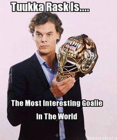Tuukka Rask is the most interesting goalie in the world. Hockey Girls, Hockey Mom, Hockey Teams, Hockey Players, Ice Hockey, Funny Hockey, Boston Bruins Goalies, Boston Celtics, Boston Sports