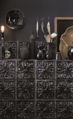 This is wallpaper ! The new Tin Tiles collection by KOZIEL. Gothic Kitchen, Wallpaper Stencil, Black Interior Design, Tin Tiles, Dark Interiors, Gothic House, Loft Style, Home And Deco, Eclectic Decor