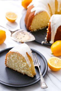 My Big Fat Greek Yogurt & Meyer Lemon Bundt Cake, moist and tender and drizzled with a sweet lemon glaze!