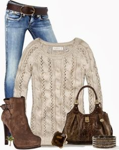 Woollen hand made sweater, jeans, high heel winter boots and hand bag. No high heels like that tho.