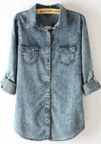 Blue Buttons Lapel Long Sleeve Denim Blouse