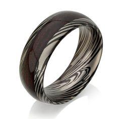Mokume Gane - Forged Ring - Damascus Inlay - Mokume Band - Damascus Ring - Three Color Mokume - Mokume Wedding Bands, Mokumegane,Wood Grain
