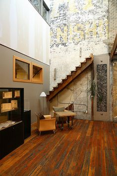 Exposed brick wall.