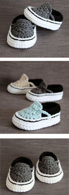 Crochet Child Booties Crochet PATTERN. TVans type child sneakers. Prompt Obtain. Crochet Baby Booties