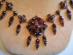 Antique Czech Garnet Necklace ,Circa 1880 ... Magnificent ! from vignette on Ruby Lane