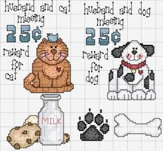 Schema punto croce Moglie-gatto-cane
