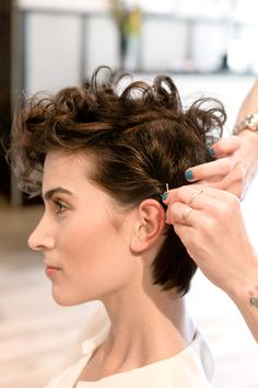 3 Chic & Easy Ways To Style Short Hair #refinery29  http://www.refinery29.com/50513#slide18  Push the sides back. As an added option, twist a small piece of hair on the side opposite your part. Push a bobby pin into the twist to secure.