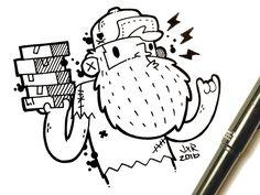 Hipster Beard Delivery Dude Sketch by Jetpacks and Rollerskates #Design Popular #Dribbble #shots