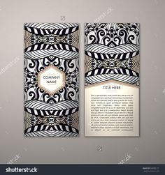 Flyer Template With Abstract Ornament Pattern. Vector Greeting Card Design. Front Page And Back Page. - 500985121 : Shutterstock