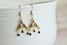 Gold Plated Chandelier Earrings. Black by JennyMoralesJewelry