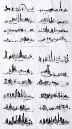 Silhouette city by Anna on Creative Market - Tattoo schablonen - Travel Journal Silhouette Tattoos, Silhouette Drawings, City Tattoo, Band Tattoo, Cordinates Tattoo, Nyc Tattoo, Tattoo Care, Tattoo Script, Tattoo Drawings