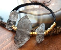 Delicate raw rough black Tourmalinated / by BayBohemian on Etsy, $30.00