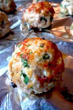 Amazing Chicken Parm Meatballs - Click for Recipe