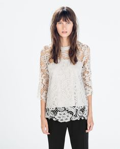 Image 1 of GUIPURE T-SHIRT from Zara  OMGee I love this!!!! http://www.zara.com/us/en/woman/tops/guipure-t-shirt-c269186p2156020.html