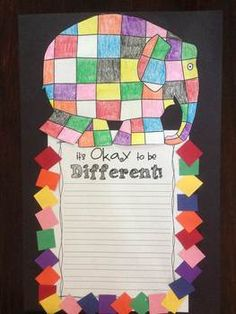 Elmer the Elephant Printables & Craftivity! Could find one way each student is different than everyone else. Encourage them to be proud of it! Beginning Of The School Year, First Day Of School, Teaching Writing, Teaching Kids, Elmer The Elephants, Kindergarten, Character Education, Classroom Fun, Book Themes