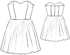 example - #5199 Satin dress - USE TOP FOR BUSTIER PATTERN!