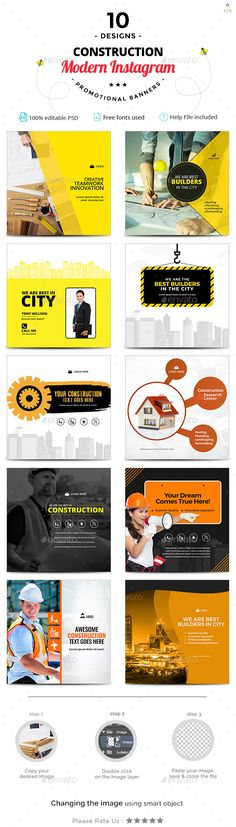 Construction Instagram Templates - 10 Designs