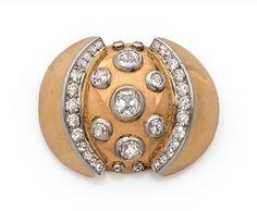 """RENE BOIVIN ANNEES 1935 - CLIP GRENADE - Il est rehaussé de diamants taille[...], mis en vente lors de la vente """"Importants Bijoux - Paris Precious Week """" à Tajan   Auction.fr"""