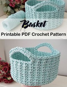 Storage Basket Crochet Patterns - Get Organized - A More Crafty Life Crochet Home, Crochet Crafts, Easy Crochet, Crochet Projects, Free Crochet, Knit Crochet, Patron Crochet, Crochet Braid, Beginner Crochet