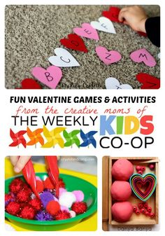 Tons of fun Valentine Games and Activities for Kids from the creative moms of The Weekly Kids Co-Op Link Party! #kids #ValentinesDay #kbn