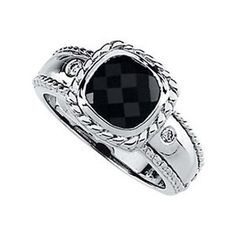 Banvari-------0.05 CTTW GENUINE ONYX AND DIAMOND RING IN 14K WHITE GOLD ( SIZE 6 )