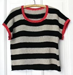 """Sommerstrick: """"We love this tee with stripes, knitted ind by Susanne Gustafsson Perfect for warm spring and summer days This is not a Crochet Tank, Drops Design, Easy Knitting, Knitting Designs, 80s Fashion, Sweater Weather, Knitwear, Warm Spring, Sweaters For Women"""