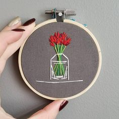 CACTUS & PLANT EMBROIDERY HOOP - 6 INCHES Perfect artwork for your desk, home, or gardening space! Great for people with plant eating cats - and a bonus - this plant will never die on you and never needs watering :) Hand embroidered by myself, Andrea Beiko, on grey cotton with DMC